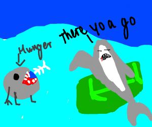A shark feeds its hunger.