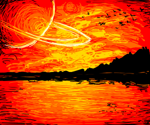 Planets and a sunset