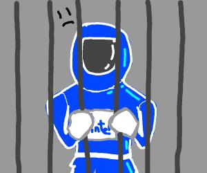 Blue man is in jail