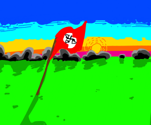 Bootleg swatstika flag in a field