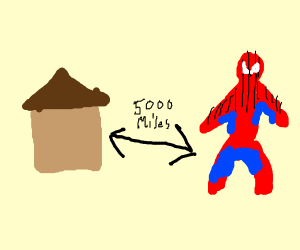 Spiderman is literally far from home