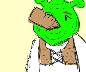 Shrek is choking on a shoe!!