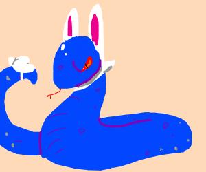 angry blue bunny snake