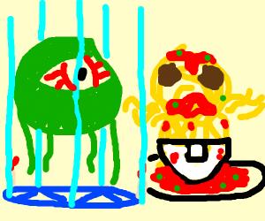 Baby spaghetti monster summons Mike Wazowski