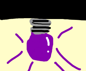 a purple light bulb