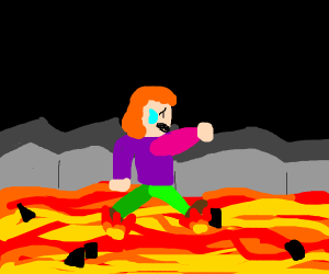 Walking over hot lava (it's hot!)