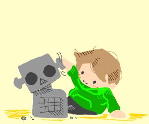 lil boi builds a robot (cute)