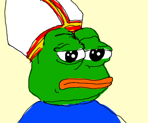 Pepe the Frog has a pope hat