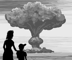 Mother and Son stare at Mushroom Cloud