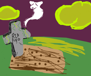 Ghostly Fido flies over his grave.