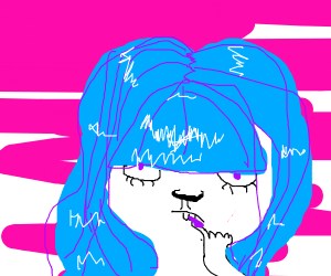 Blue haired lady bites her nails