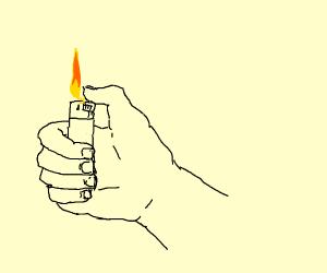the lighter has been lit.
