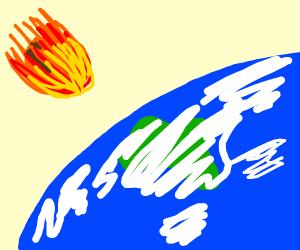 Meteor coming into veiw in space