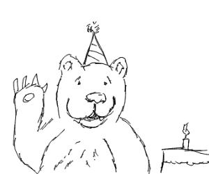 white bear having a birthday