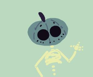 Skeleton with a Pumpkin Head