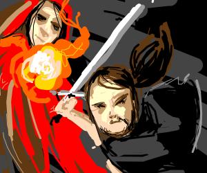 Sword Man vs Fire Wizard