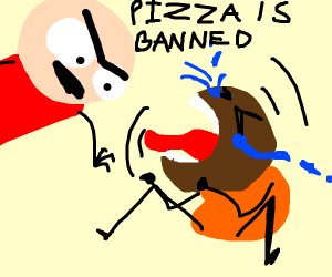 A man tells a crying kid that pizza is banned