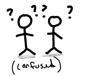 two stick figures are confused