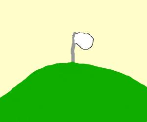 White flag on hill