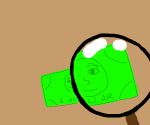 Looking at a 1$ bill under a magnifying glass