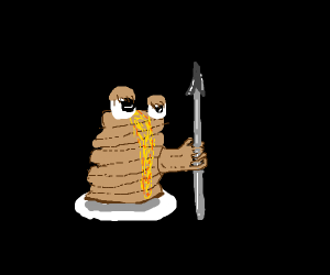 Pancake stack holding a spear