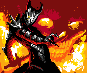 a really good drawing of a demon with a sword