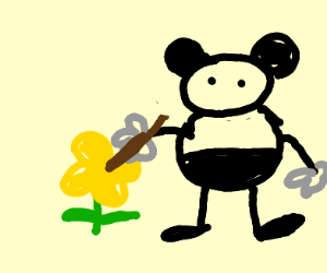 mouse poking flowers with a stick.
