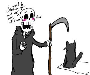 Grim reaper adores a cute black cat