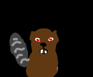 Beaver with glowing red eyes
