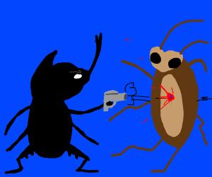 Beetle shoots cockroach