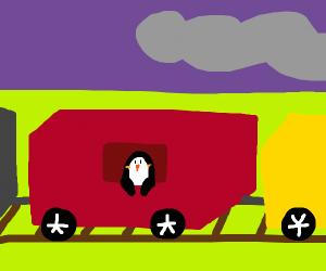 Penguin in the train