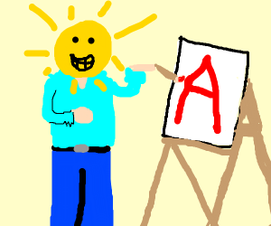 Bob Ross with his head as the sun painting a
