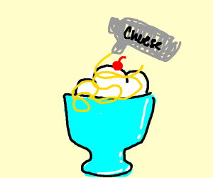 Icecream with spray cheese