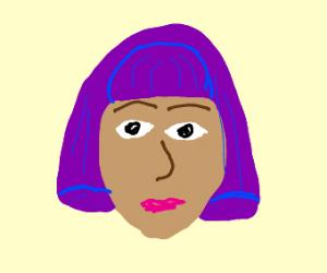 girl with purple bob