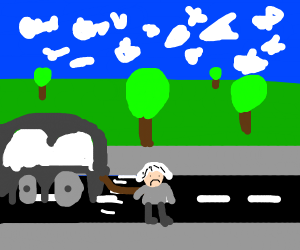 Old lady being dragged by a car