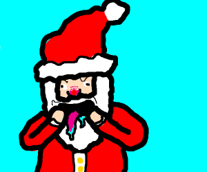 santa takes out his tounge and shows it
