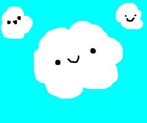 Big cloud between small clouds