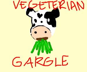 cow puking grass