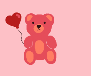 Pink teddybear with heart balloon