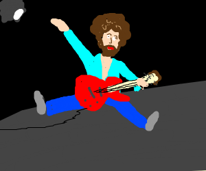 Bob Ross playing electric guitar