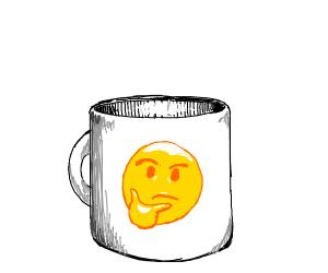 Coffee mug with :thinking: emoji on it