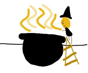 witch looks into a cauldron