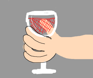 Detailed hand grabbing a wine glass