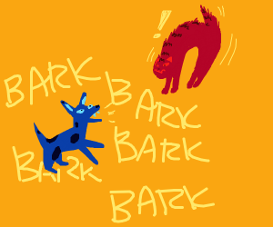 a blue dog barks at a red cat