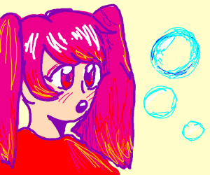 Anime character stares at bubbles