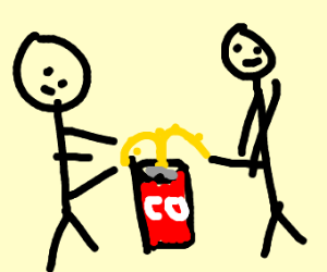 two people peeing in a coke can