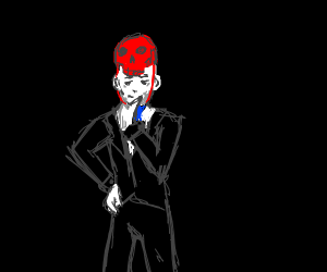 Man wearing red skull hat and black suit