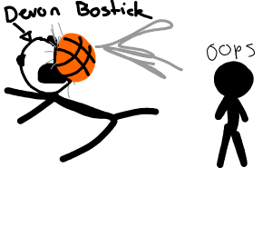 basketball hits Devon Bostick in the face