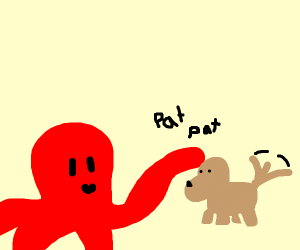 Octopus pets dog