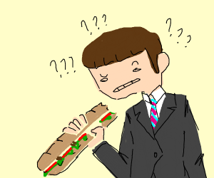 Man confused at a sandwich